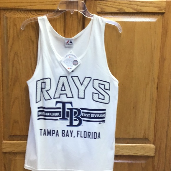 Majestic Tops - Women's Rays Baseball tank top shirt white small
